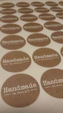 Handmade In 'Your Location' Paper Stickers - Product Packaging
